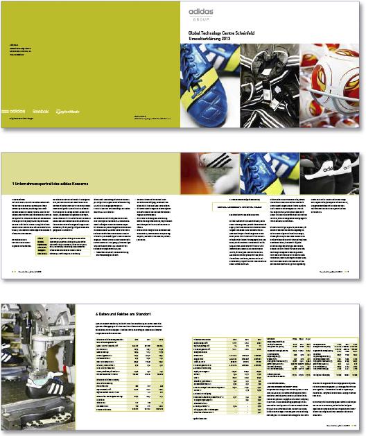 Print der Broschüre für einen zertifizierten Standort von adidas